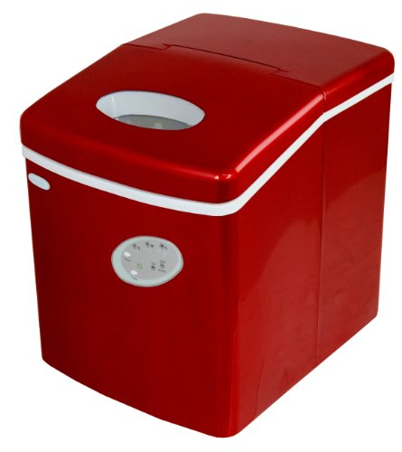NewAir AI100R Portable Ice Maker In Red With 28 Pound Ice Cube Capacity