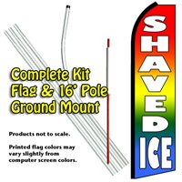 Shaved Ice Advertising Feather Flag Banner - Complete Kit with 16' Pole Set and Ground Mount