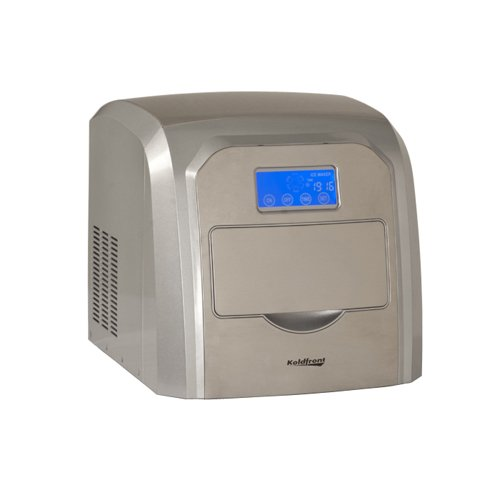 Koldfront Deluxe Stainless Steel Portable Ice Maker with LCD Display - Silver and Stainless Steel